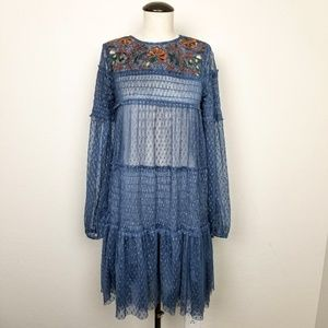 Maeve Sheer Tulle Embroidered Smocked Dress
